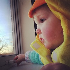 Sad toddler looks sad even in a duck costume