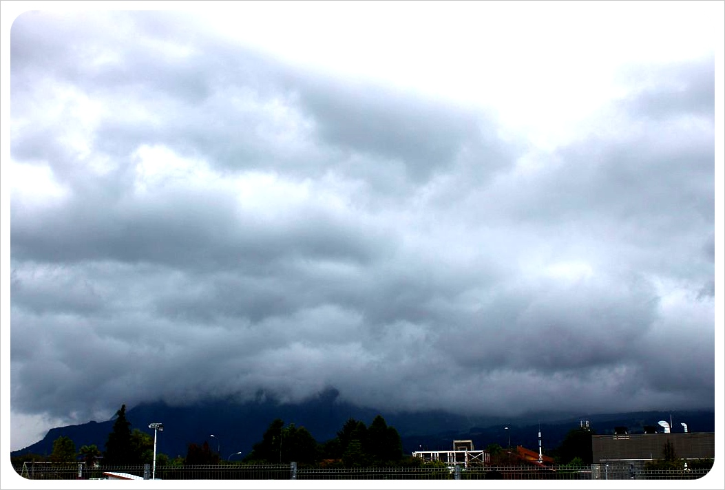 clouds hiding the volcano in pucon
