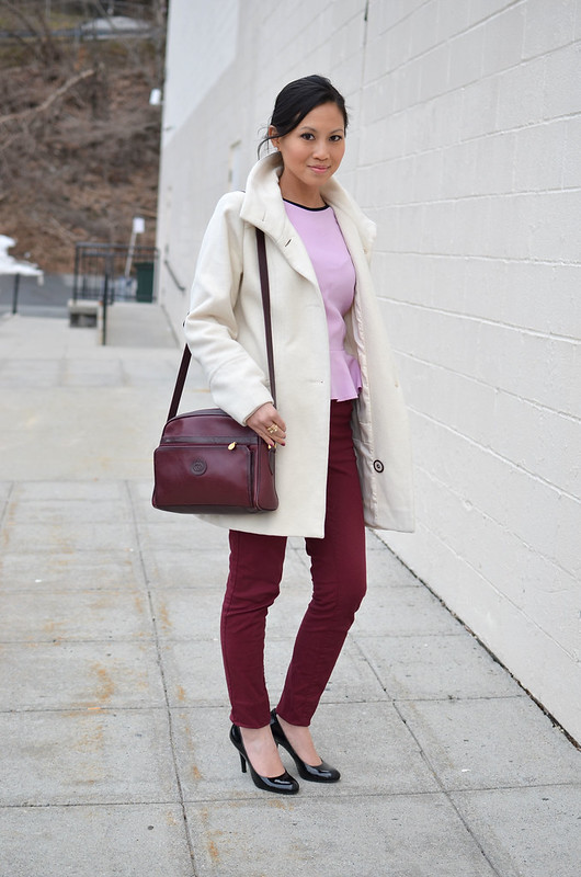 pink peplum & burgundy / maroon pants