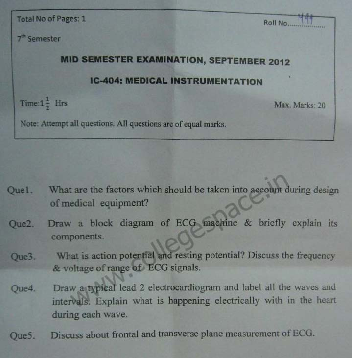 NSIT Question Papers 2012 – 7 Semester - Mid Sem - IC-404