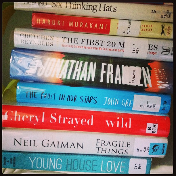 The to-read stack. (Today I posted about how I read 100 books in 2012, on TaraSwiger.com)