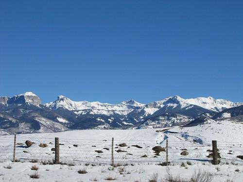 winter sky snow mountains rural fence colorado ridgway cimarronmountains