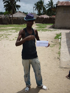 Young man with AidPod in Tanzania