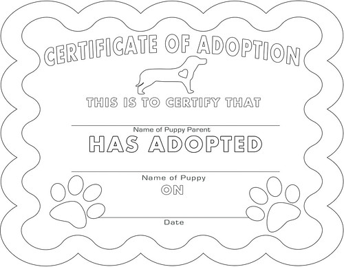 adoption certificate coloring page