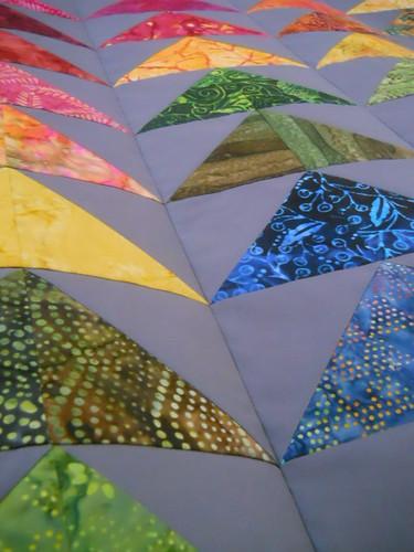 rainbow batik geese quilt 1