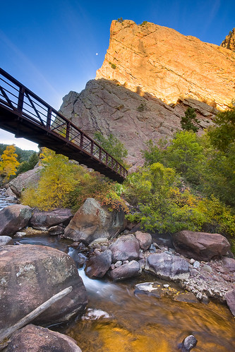morning bridge blue orange foothills architecture sunrise reflections colorado unitedstates boulder creeks waterscapes eldoradocanyonstatepark