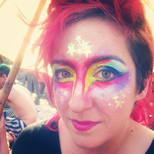 Kim Boekbinder is a magical unicorn. I painted her face to reflect that fact. Lisa Frank, eat your heart out.