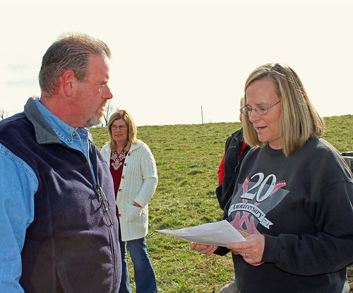 Rose Ann Masters discusses her Conservation Stewardship Program plan with NRCS Lead District Conservationist Tony Burnett. NRCS photo by Christy Morgan.