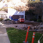 Large concrete patio demolition and removal.