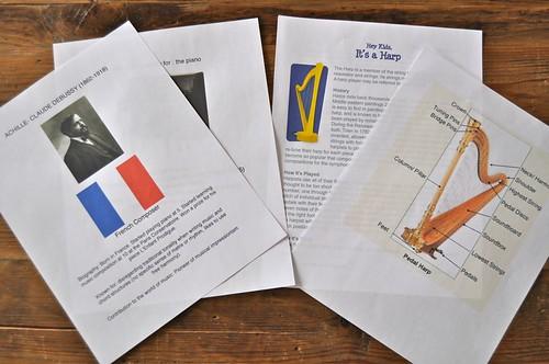 Harp Debussy Worksheets