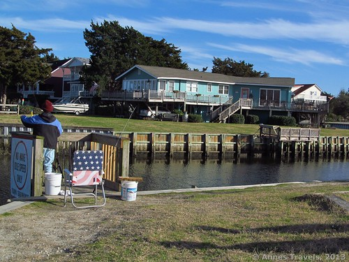 Fishing platform on the canal at Sailfish Street Park, Holden Beach, North Carolina