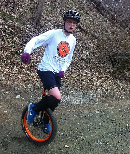 Mountain unicycle competitor