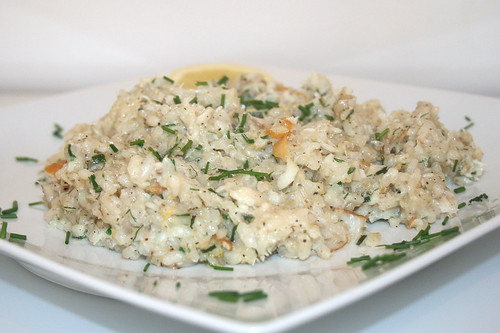 40 - Risotto mit geräuchertem Heilbutt / Risotto with smoked halibut - CloseUp