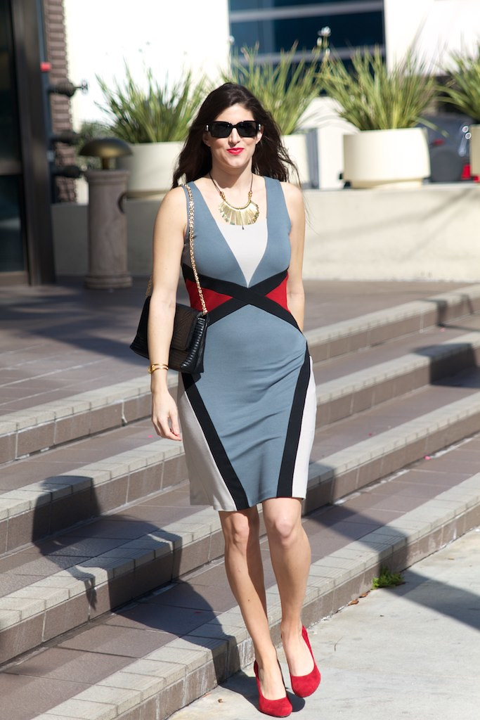 Ronen Chen: Outfit 2, ronen chen, israeli designer, colorblock dress, Laura Yazdi, Laura lily, beverly hills style, rodeo drive, fashion blogger, la fashion blogger, cali style,