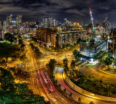 [Free Images] Architecture, City / Town, Road / Path, Night View, Landscape - Singapore ID:201302201600