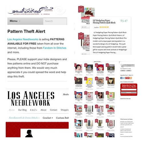 Pattern Theft Alert!!  Los Angeles Needlework is selling our free patterns! They've swiped patterns from quilt, knitting, crochet, and embroidery designers. Help spread the word!