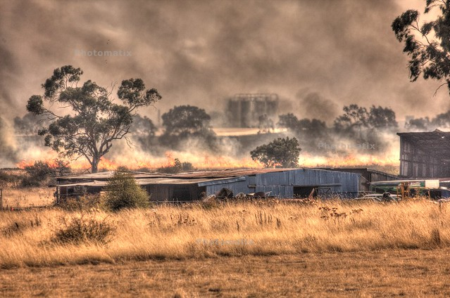 Grass fire in Epping, Victoria, Australia