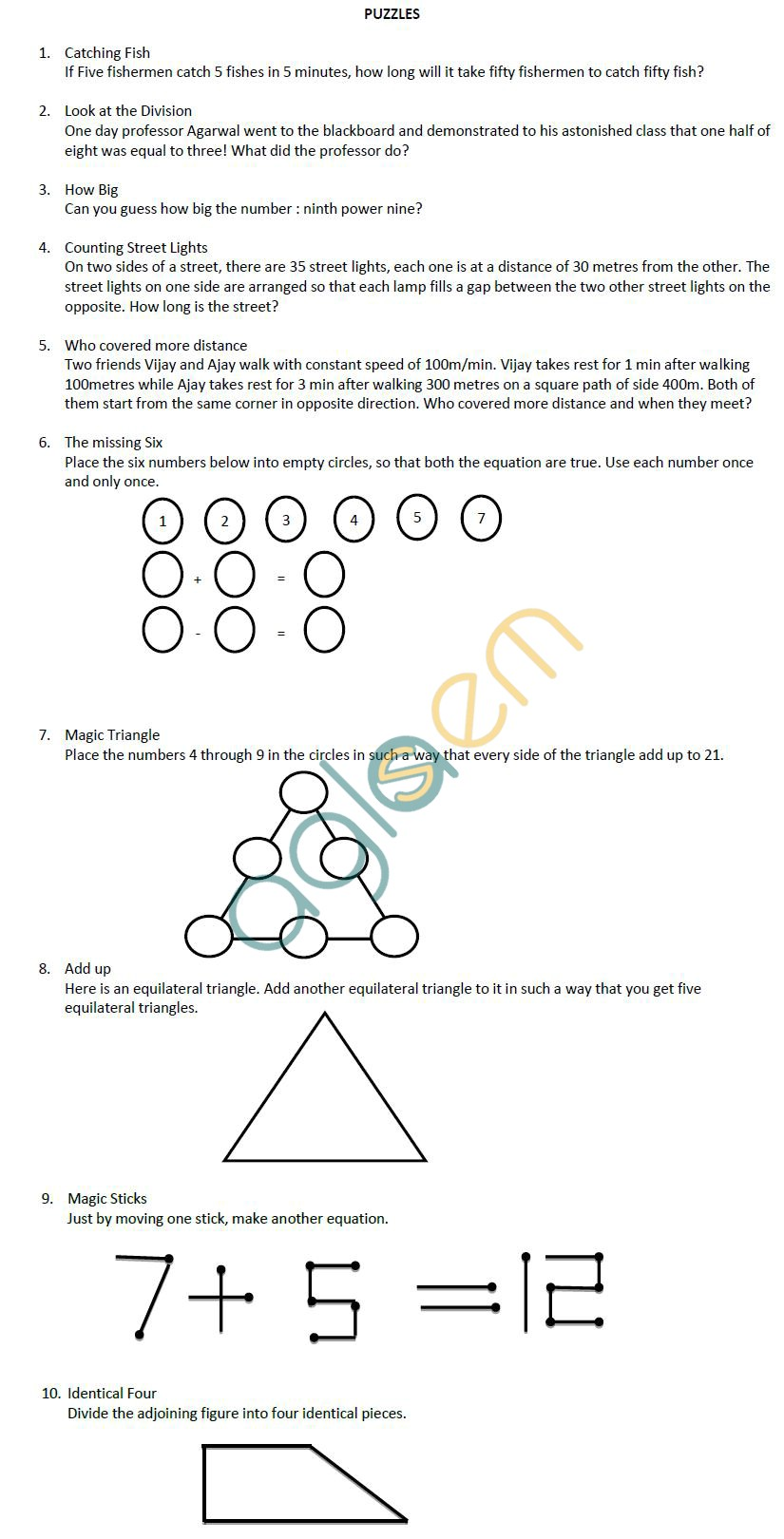 CBSE Class X Maths Support Material Puzzles