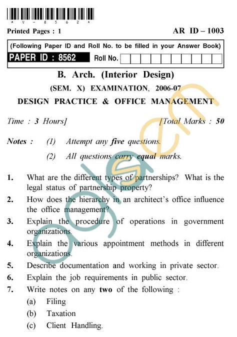Uptu B Arch Question Papers Ar Id 1003 Design Practice Office Management Aglasem