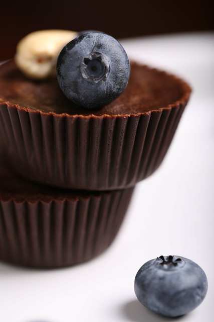 Raw Chocolate Cups with Blueberries and Cashews