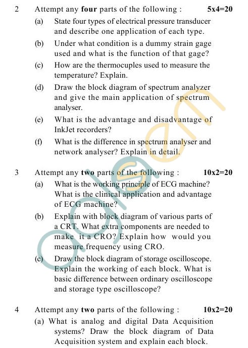 UPTU B.Tech Question Papers -BME-402- Electronics Instruments