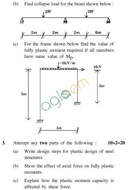 UPTU B.Tech Question Papers - CE-041-Plastic DesignofSteel Structures