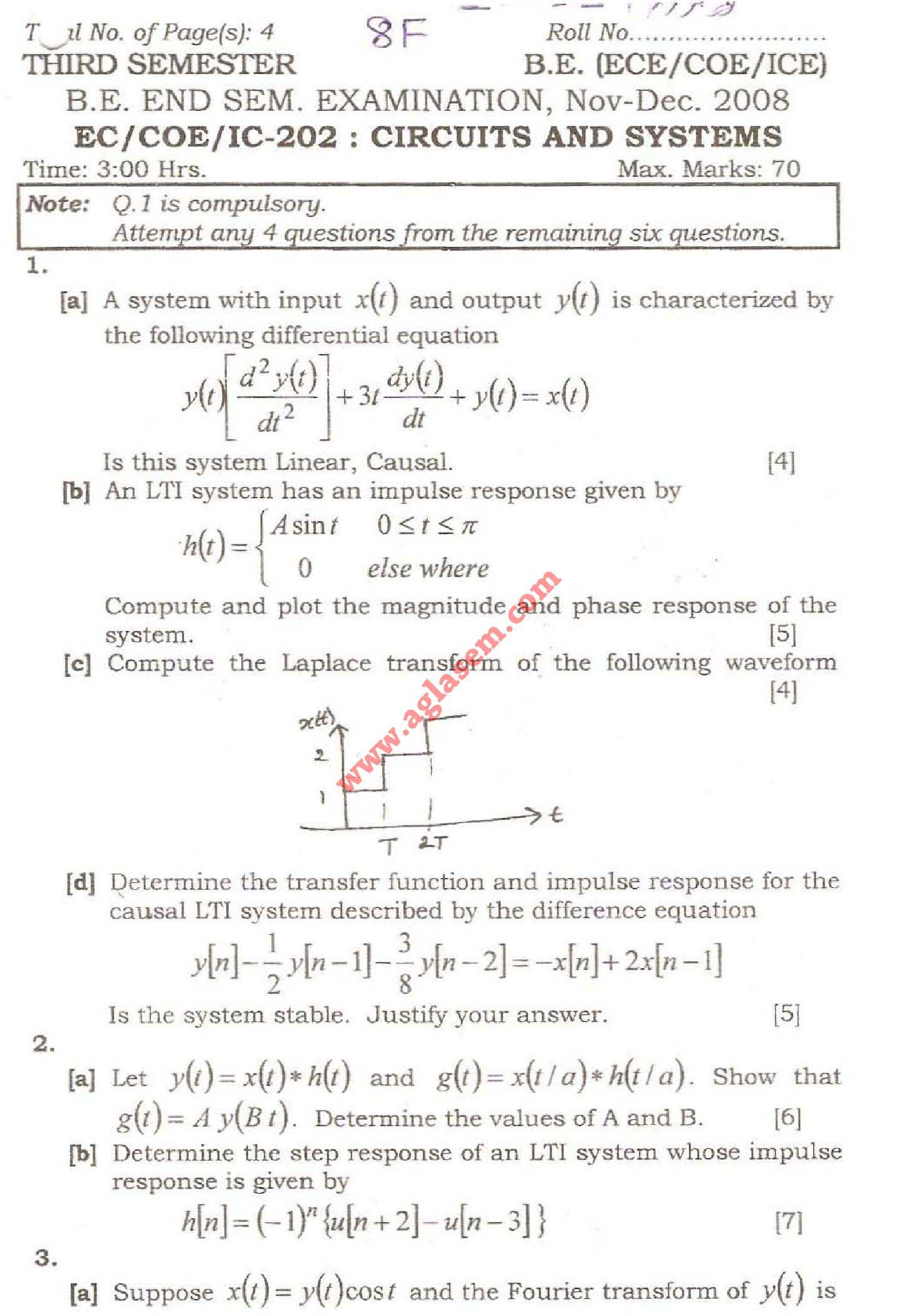 NSIT Question Papers 2008 – 3 Semester - End Sem - EC-COE-IC-202