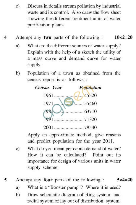UPTU B.Tech Question Papers - TEN-403-Water Engineering