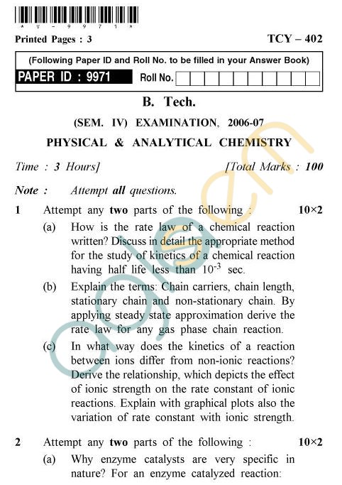 UPTU B.Tech Question Papers - TCY-402 - Physical & Analytical Chemistry