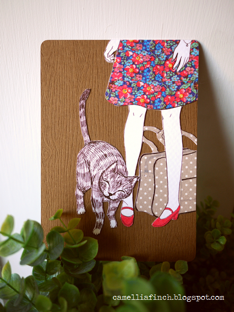 做久違的紙膠帶明信片給同樣愛貓的網友