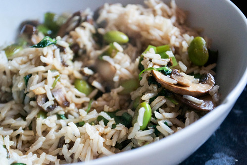 stirfried brown rice with soya beans mushrooms