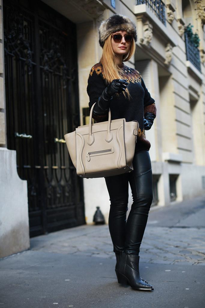 Bershka faur leather skinny & scarf