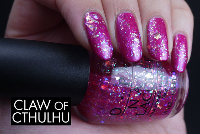 OPI I Lily Love You Swatch (over Flashbulb Fuchsia)