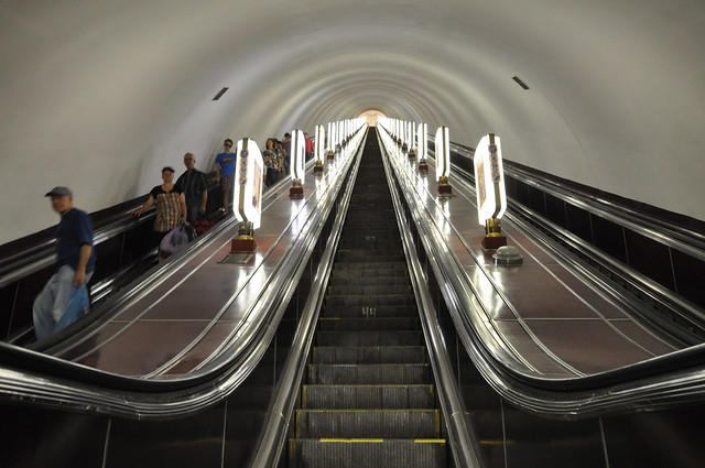Escalators at the deepest metro station of the world: Arsenalna (105.5m)