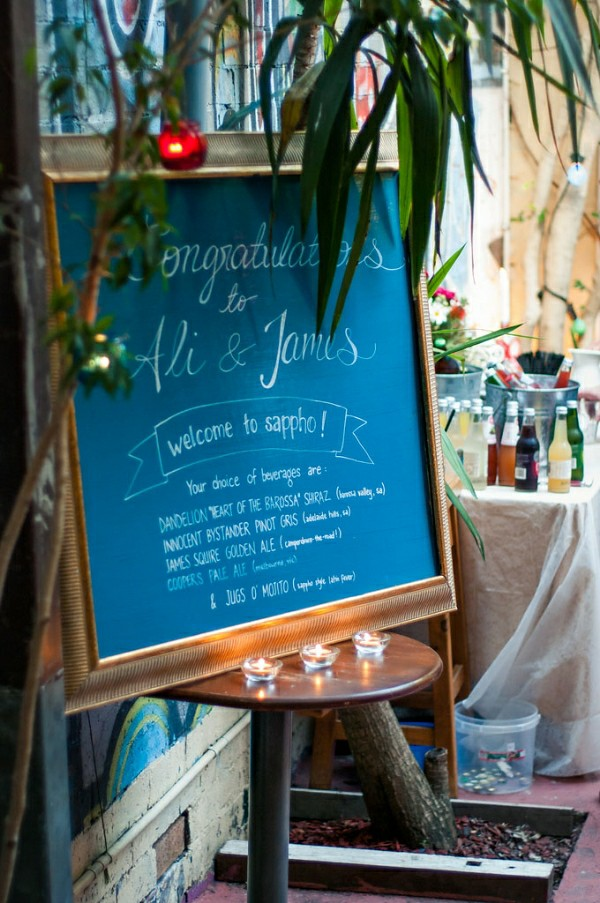 sappho wedding chalkboard sign