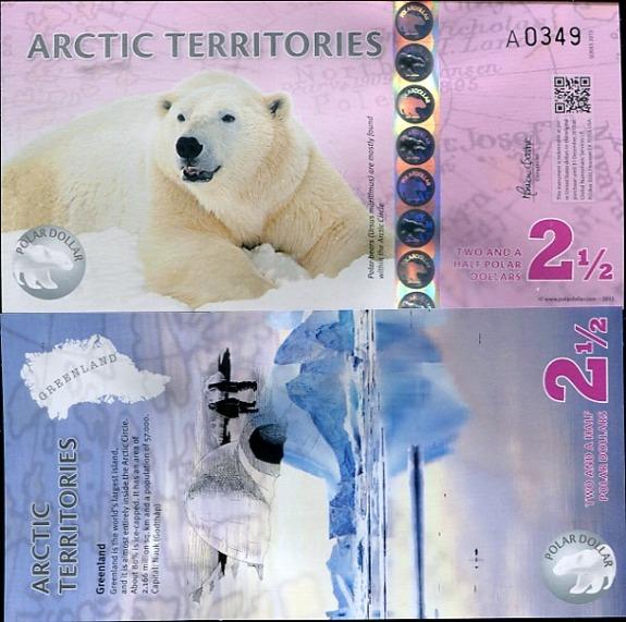 2,5 Polárne doláre Arktída 2013, polymer