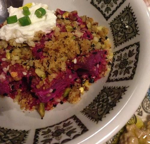 Artichoke's Mezze: Beetroot Tzatziki, Pistachio Dukka & Garlic Breadcrumbs