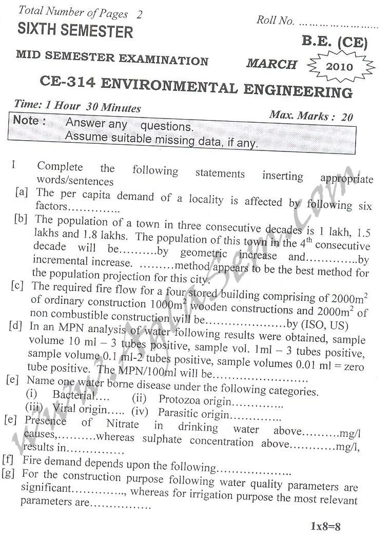 DTU Question Papers 2010 – 6 Semester - Mid Sem - CE-314