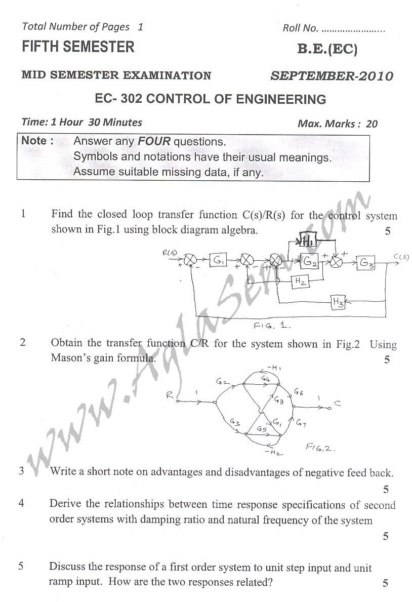 DTU Question Papers 2010 – 5 Semester - Mid Sem - EC-302