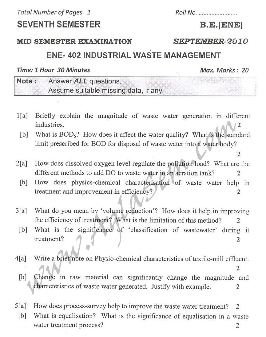 DTU Question Papers 2010 – 7 Semester - Mid Sem -  ENE-402