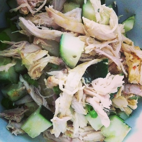 Chicken + Cucumber Salad with nutritional yeast dressing