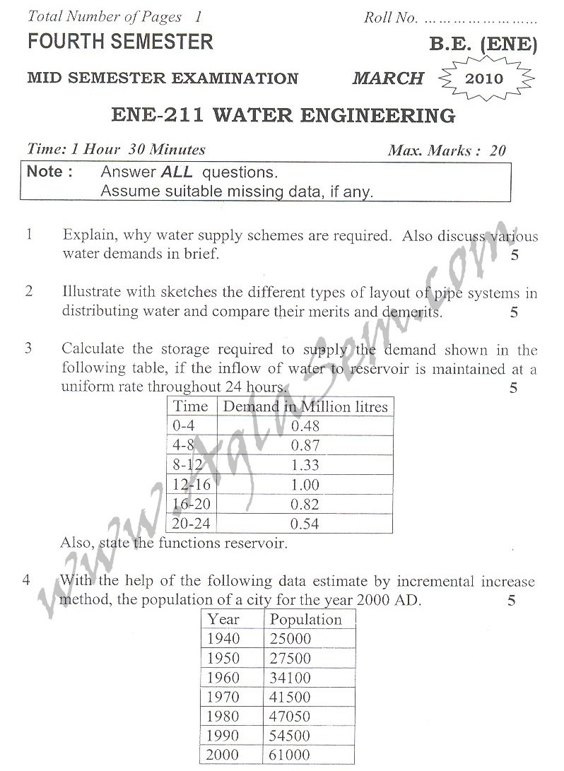 DTU Question Papers 2010 – 4 Semester - Mid Sem - ENE-211