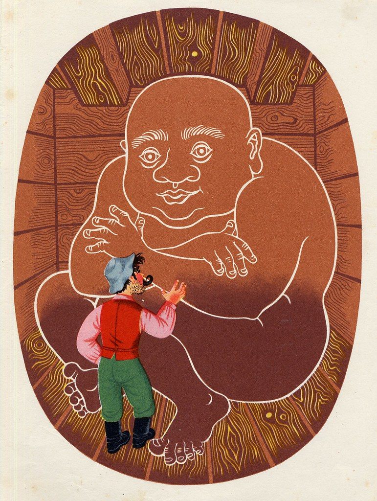 "Helena Zmatlíková - Illustration for Vitezslav Kocourek's ""The Tale Around The World"" Prague, 1957 (5)"