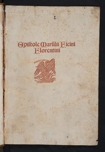 Title-page printed in red in Ficinus, Marsilius: Epistolae