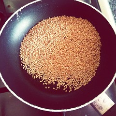 Roasting sesame for Goma-ae