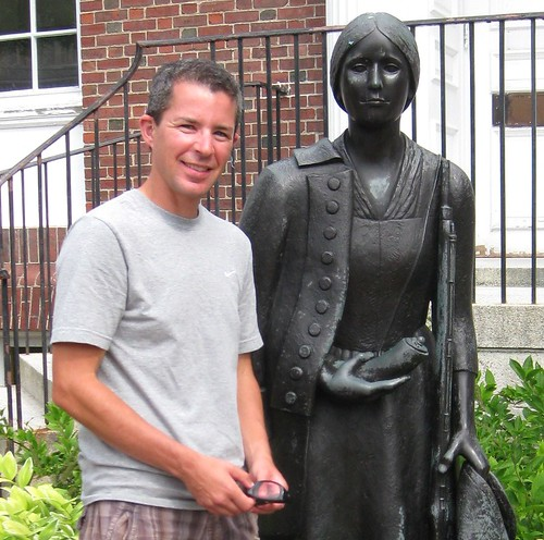 Alex Myers with statue of Deborah Sampson Gannett