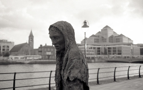 Great Famine Monument fragment, Dublin (Ilford FP4) by KaraNagai
