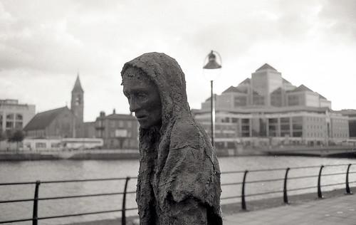 Great Famine Monument fragment, Dublin (Ilford FP4) by KaraNagai