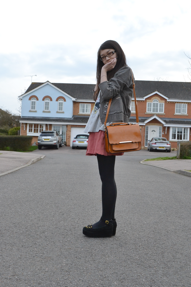 daisybutter - UK Style and Fashion Blog: what i wore, truffle shuffle, skater skirt, how to wear skater skirts, military jacket, yeswalker bag, charlotte olympia kitty shoes