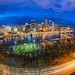 Pittsburgh skyline and P.J. McCardle Roadway as seen from Mt. Washington through a fisheye lens HDR by Dave DiCello